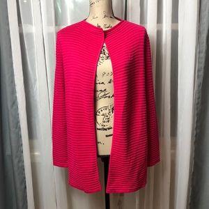 Talbots bright pink ribbed long cardigan sweater